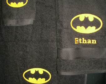 Batman Logo Personalized 3 piece Bath towel, hand towel & Washcloth Set Super Hero Batman