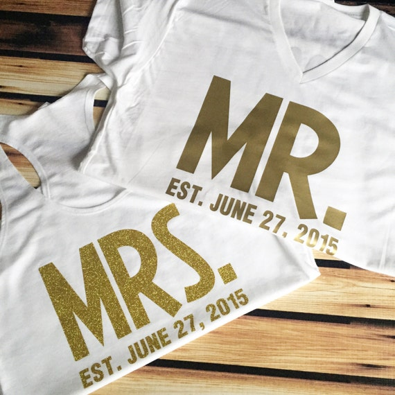 His And Hers T Shirts Bold Mr And Mrs Shirts With Wedding