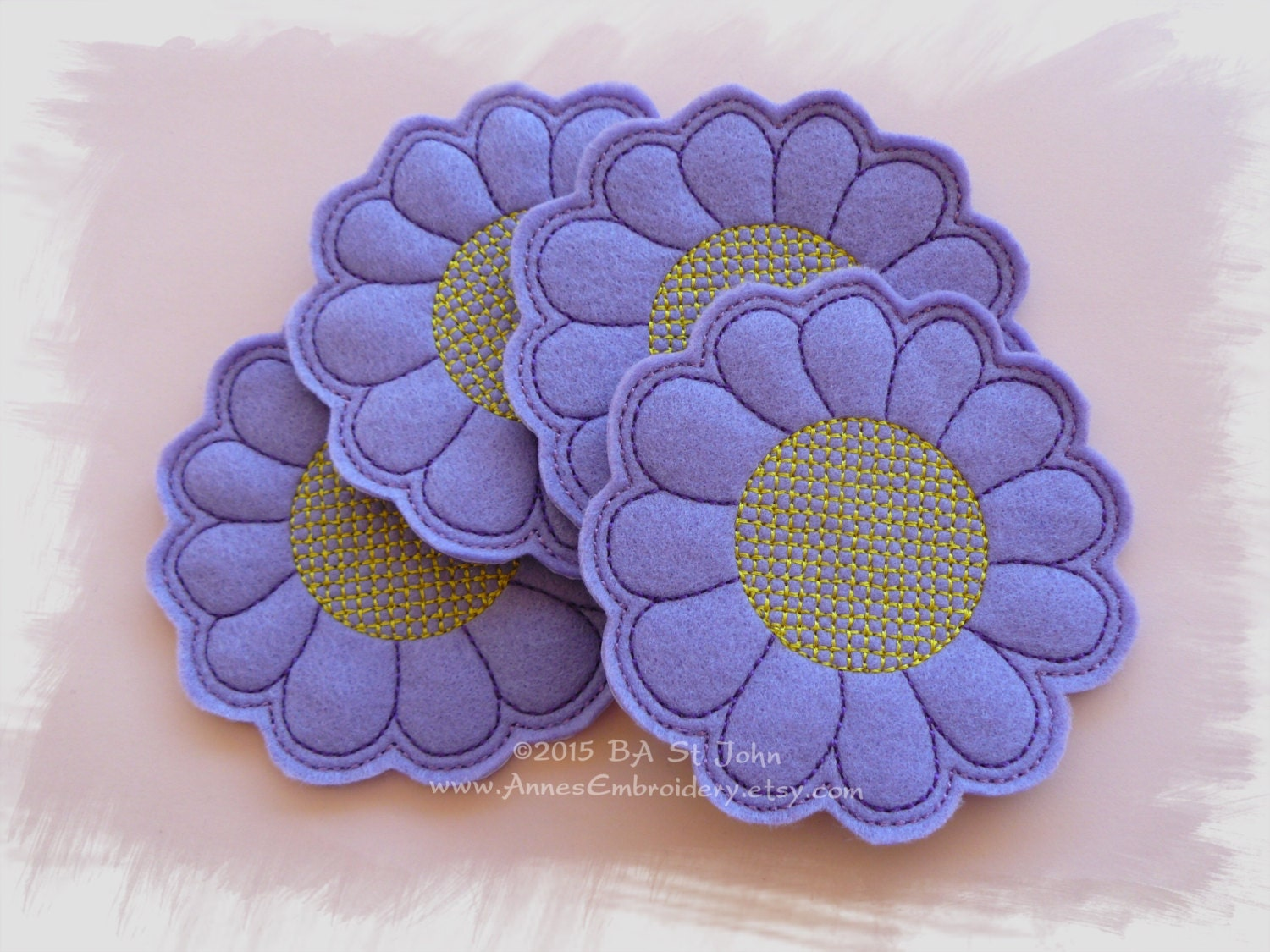 Felt Flower Coaster In The Hoop Ith Machine Embroidery