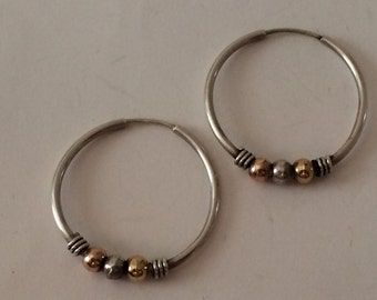 Sterling Silver Hoop And Brass, Silver, and Copper, Ball Earrings