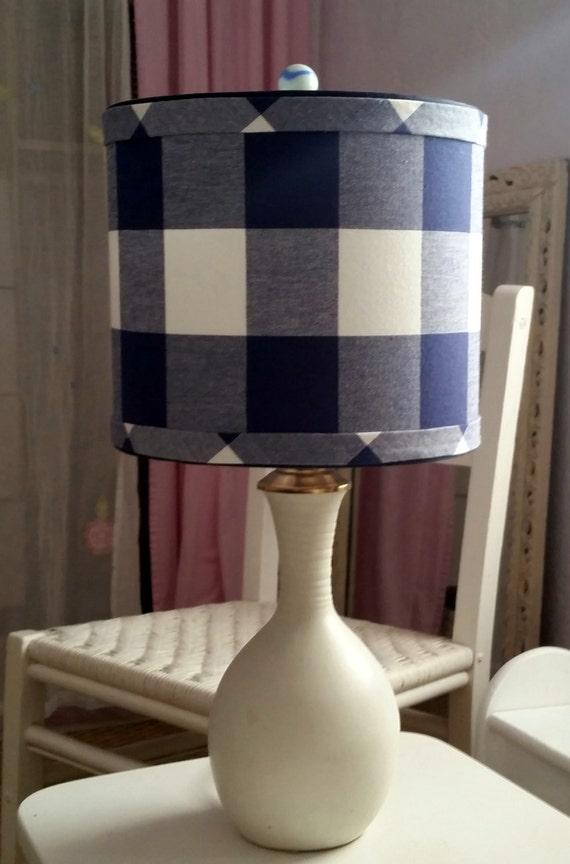 drum lamp shade navy blue checkmate cadet gingham designer. Black Bedroom Furniture Sets. Home Design Ideas