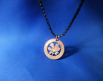 """Cut Coin Pendant by 'The Coins Shop"""",Origin Germany,Design Oak Leaf,Tree,Handmade Cut Coin Jewellery,Euro Cents,Necklace,Craft,Gift Idea"""