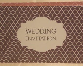 Grey & Pink Accordion Fold Wedding Invitation, Order of Service, Guest Info and RSVP - All in one!