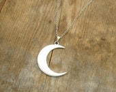 Crescent Moon Boho Necklace - Distressed Silver with Leather Cord or Chain - Bohemian Jewelry, Hippie, Long Layering Jewelry