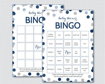 Blue and Silver Baby Shower Bingo Cards - Printable Blank Bingo Cards AND PreFilled Cards - Blue and Gray Baby Shower Bingo - 0023-N