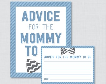Bow Tie Advice for Mommy to Be Cards and Sign - Printable Baby Shower Advice for Mom, Advice for Parents to Be in Blue and Gray - 0007-A