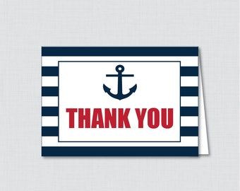 Printable Nautical Thank You Card - Printable Instant Download - Nautical Baby Shower Thank You Card, Navy and Red Anchor Stripes - 0029-R