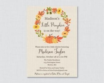 Pumpkin Baby Shower Invitation Printable or Printed - Little Pumpkin Baby Shower Invites Fall Baby Shower Invitation Boy, Girl, Neutral 0032