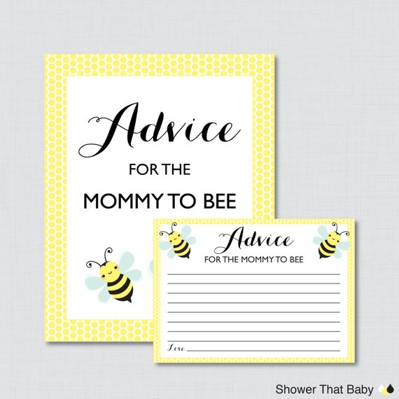 Baby Shower Tips For New Moms: Bumble Bee Advice For Mommy To Bee Cards And Sign Printable
