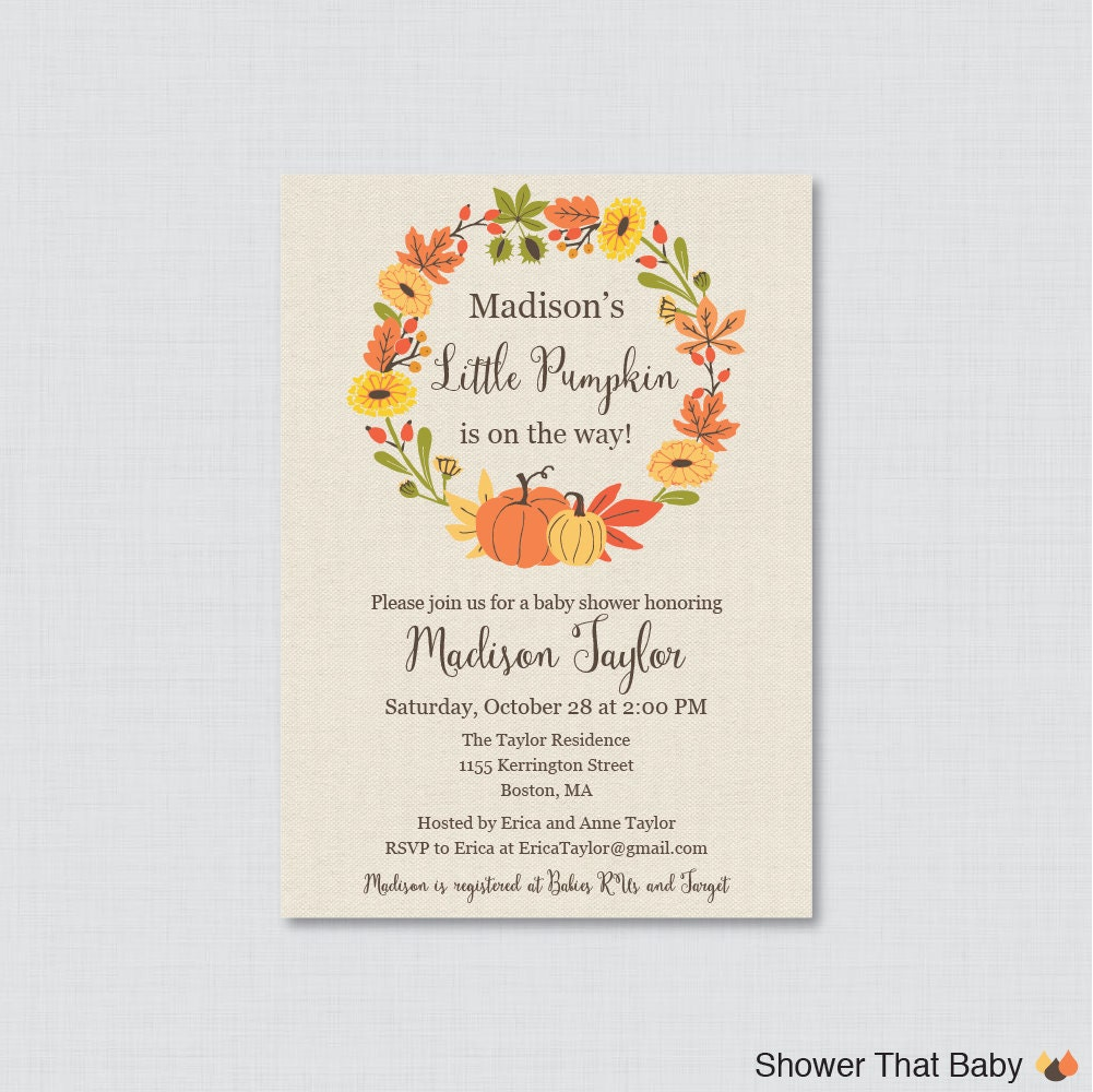 pumpkin baby shower invitation printable or printed little
