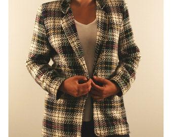 Vintage plaid boyfriend blazer woold blend 1980 80s boxy oversized slouchy blazer medium large