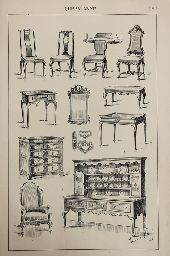 Items similar to english queen anne furniture designs for English chair design