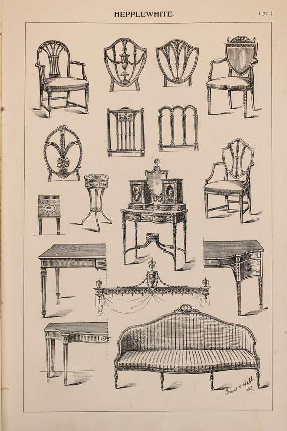 Items similar to english hepplewhite furniture designs for English chair design