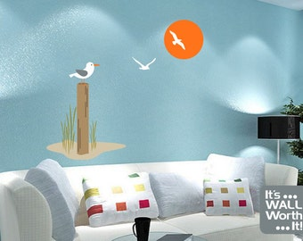 Seagulls on the Beach Vinyl Wall Decal - Bedroom Home Decor Room Wall Sticker