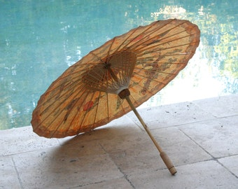 Vintage Hand Painted Japanese Paper and Bamboo Parasol/ Umbrella