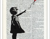 Banksy Street Art Inspired, Dictionary Art, Great Gift, Lover Gift, Home Wall Decor, Inspirational, Prints and Posters, Graffiti Art