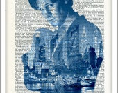 Dr Who Art, Dictionary Art, Print, Poster, Upcycled, Tardis, Time Machine, Gift, Home Wall Decor, Dr. Who fan gift, approx 8 x 10 inches