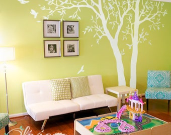 White tree decal - Huge home decor - large wall tree  wall decals - Wall ART - Wall Mural - large white tree decals - Tree Wall Decals NT021