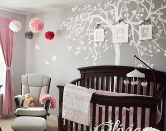 WHITE Nursery Tree Wall Decal Huge Kids room Tree Decor Large Tree Mural White Whimsical Tree Wall Sticker - NT033