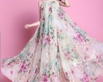 60 Colors Chiffon Flower Long Party Dress Evening Wedding Maternity Lightweight Sundres Holiday Beach Bridesmaid Dress Maxi Skirt J001