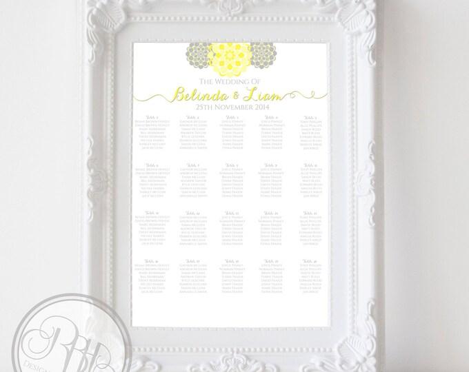 "Wedding Seating Chart - Yellow & Grey Peonies Digital Files DIY Printable - ""Chloe Seating Chart"""