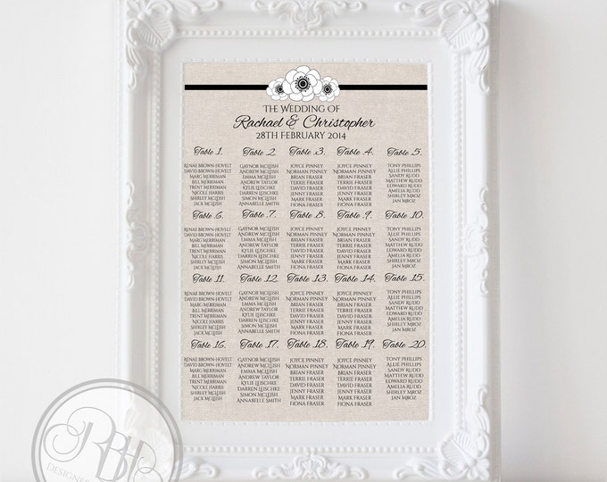 "Rustic Burlap Wedding Seating Chart, Anemone Flowers Digital Files DIY Printable - ""Rustic Burlap Felicity"""