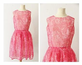 1960s paisley dress, French vintage pastel pink white short dress, 60s printed minidress, babydoll kawaii Galeries Lafayette dress size XS S