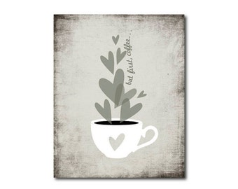 but first coffee printable black and white kitchen wall art print digital instant download coffee love poster neutral gray wall decor jpg