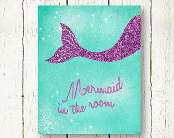 mermaid printable turquoise and purple glitter baby girl nursery wall art decor poster mermaid in the room digital print instant download