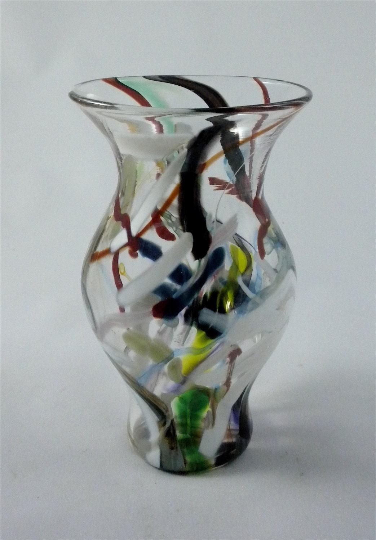 Wild Rainbow Vase Hand Blown Glass Flower Vase Unique