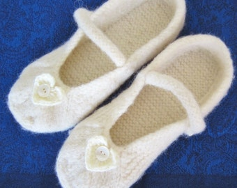 Ladies Felted Slippers Ballerina Style- will keep your feet warm in the winter & cool in the summer ideal to wear throught the year.Handmade