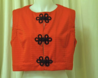 1970's Chinese Red Knit Sleeveless, Crop Shirt, Blouse Vest with Chinese Frog Closures, Size Medium/Large