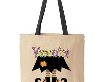Personalized Halloween treat bag.  Tote bag for trick-or-treat.  Halloween bag.  Halloween bucket. Witch shoes tote by Pink Pig Printing.