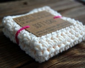 Cream White Crochet Dishcloth - Crochet Washcloth - Crochet Potholder - Soft Ecru - Cotton Dish Cloth - Wash Cloth - Crochet Gift