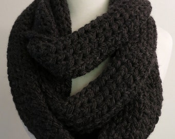 Long Bulky Crochet Infinity Scarf in Dark Gray
