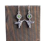 Humming Bird Sterling Silver Earrings; jewellery, green, woodland, for her, gift wrap, wing, summer, fly, feather, wing, lime, spring