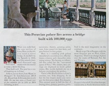 1963 Fly Panagra Ad - Quinta de Presa in Lima, Peru - Rococo Style Villa - World's Friendliest Airline - Peruvian Palace - 1960s Airline Ads