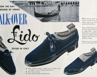 1953 Walk Over Lido Shoes Ad - Styled in Italy - Retro Blue Suede Shoes - 1950s Men's Footwear