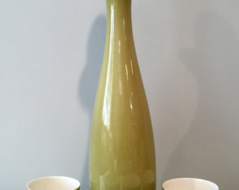 "Luke and Rolland Lietzke Studio Pottery Porcelain 15"" Decanter and 4 Cups"