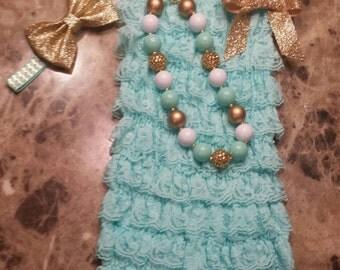 Light Aqua/Mint Green Petti Lace Romper Headband and Necklace 3 piece set,Birthday,flower girl,ballerina,infant, toddler,