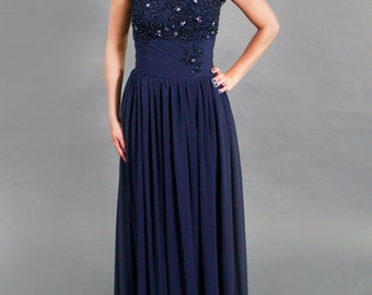 High Quality Beaded illusion Lace Cap Formal Navy Evening Dress, Prom Dress