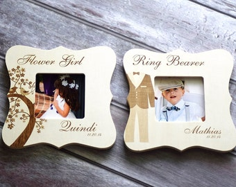 Ring bearer and Flower girl Personalized Frames, Ring Bearer and Flower girl Gifts, Wedding Party gifts, Rustic wedding, Thank You Gift