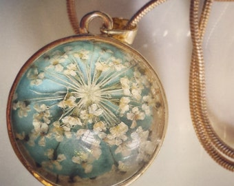 Gold plated brass Necklace - real dry QueenAnne's lace ball pendant