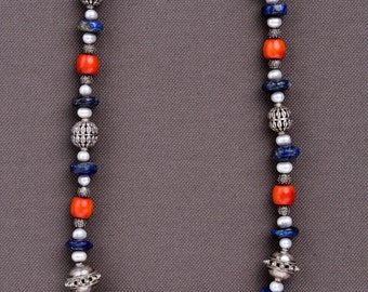 Silver Hand Wrought necklace from Nepal: