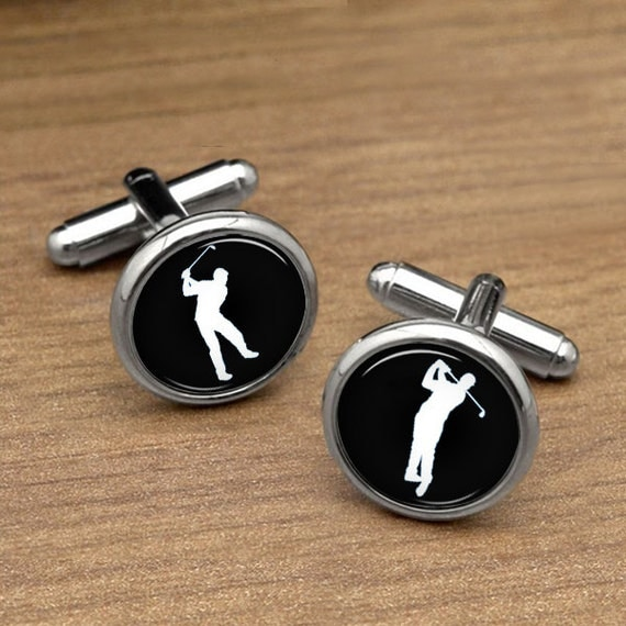 Golf cufflinks golf ball sports cuff links retro by for Golf buflings