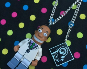 The Simpsons Dr Hibbert Minifigure Necklace...Handmade using LEGO® parts