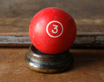 "Red 3 Pool Ball 2.25"" Billiard Three III Solid Solids Number Paperweight Decor Plastic Bakelite Retro Man Cave"