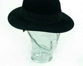 Women's Ann Taylor Black Wool Felt Hat Vintage New Made in USA Wide Brimmed Vintage Sun Hat Retro Medium Size Ladies Lady Hat