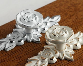 Shabby Chic Dresser Drawer Knobs Pulls Handles Creamy White Silver Gold  Rose Flower Kitchen Cabinet Knobs