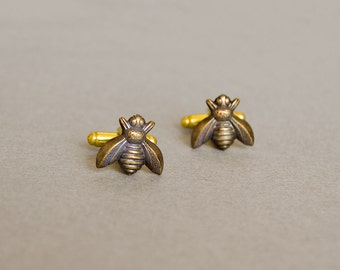 Men's Cufflinks Bee Cufflinks Steampunk Honey Bee Cufflinks Men's Accessories Antique Brass Vintage Style Statement Cufflinks Men's Gifts